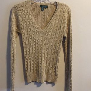 Ralph Lauren Gold Glitter Sweater S